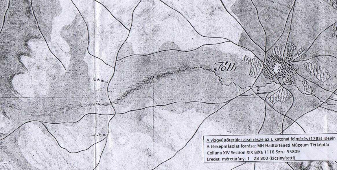1783-as térképrészlet a Pest-megyei Mogyoródi-patak vízgyűjtő területről