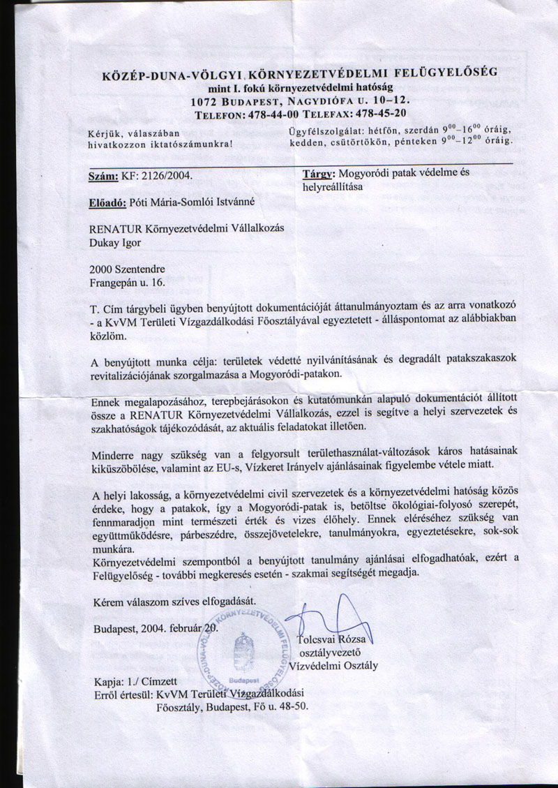 A Közép-Duna-völgyi Környezetvédelmi Felügyelőség válasza Dukay Igornak a szakmai segítségadás biztosításáról