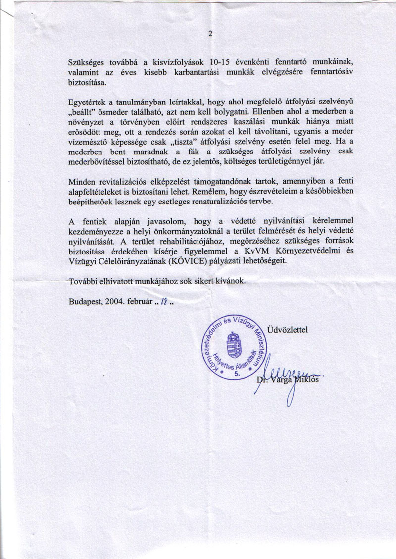 A Környezetvédelmi és Vízügyi Minisztérium vízügyi helyettes államtitkárának Dukay Igor számra küldött válasza - 2.  oldal