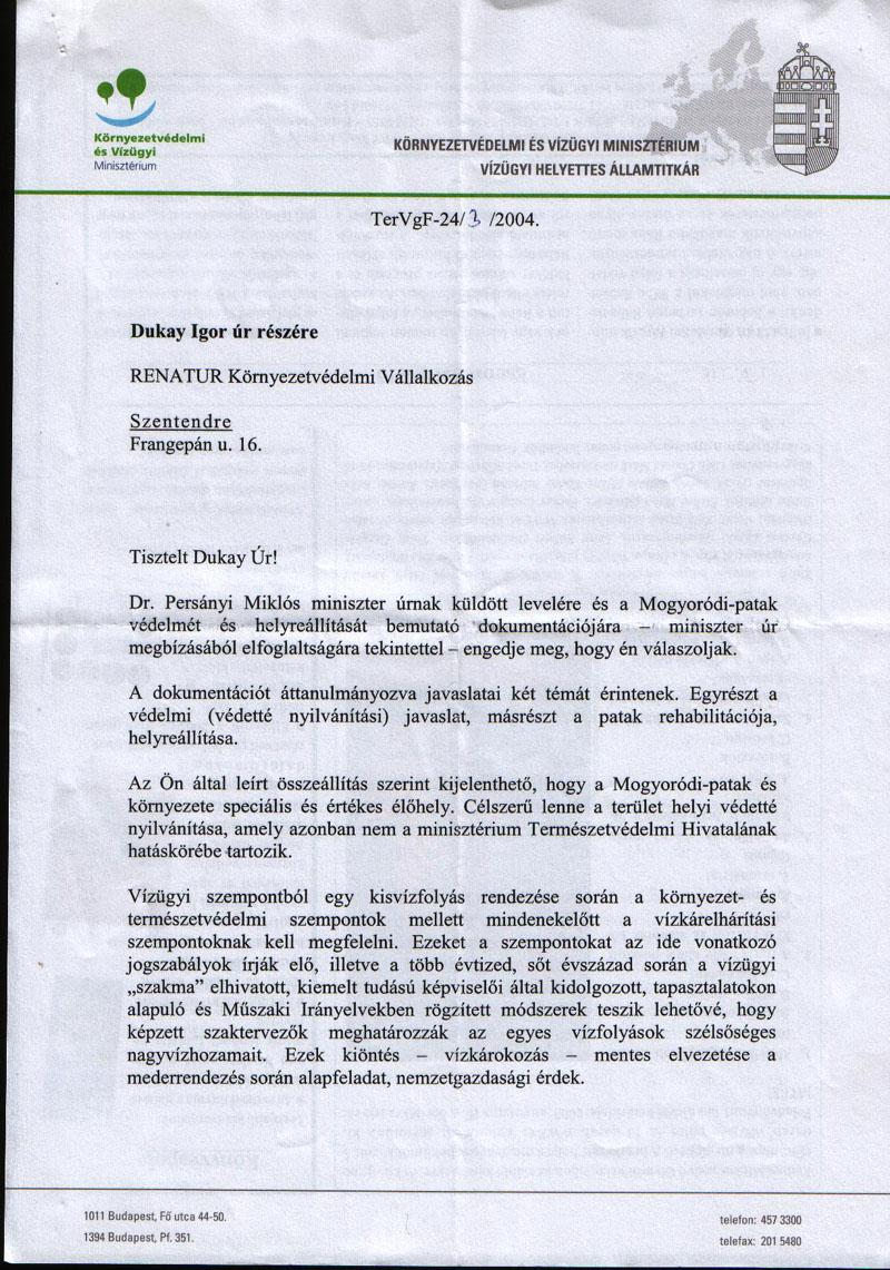A Környezetvédelmi és Vízügyi Minisztérium vízügyi helyettes államtitkárának Dukay Igor számra küldött válasza - 1.  oldal