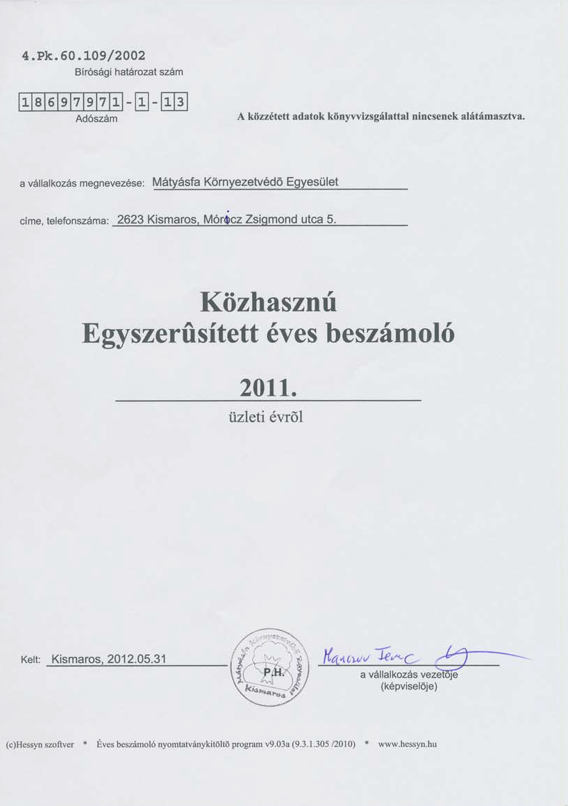 A Mátyásfa Környezetvédő Egyesület közhasznú egyszerűsített éves beszámolója a 2011-es évről