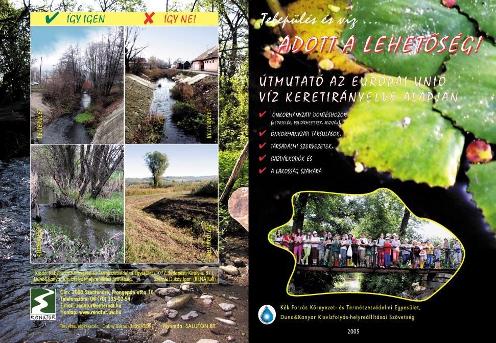 A Kék Forrás Környezet- és Természetvédelmi Egyesület Víz Keretirányelv szórólapja - 1. oldal