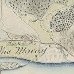 Kismaros település (korabeli írásmóddal Kis-Maross) és a Morgó-patak az első katonai felmérés térképén, az 1780-as években