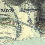 Kismaros település (korabeli írásmóddal Kis-Maros, németül Klein Marosch) és a Morgó-patak a második katonai felmérés térképén, az 1840-es években